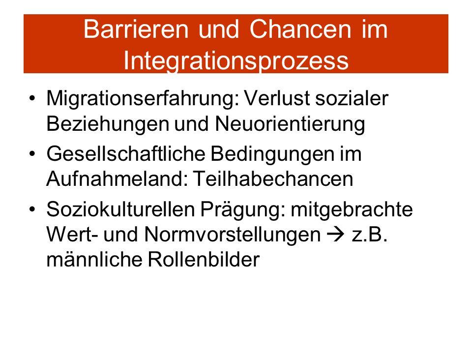 Barrieren und Chancen im Integrationsprozess Migrationserfahrung: Verlust sozialer Beziehungen und Neuorientierung Gesellschaftliche Bedingungen im Au