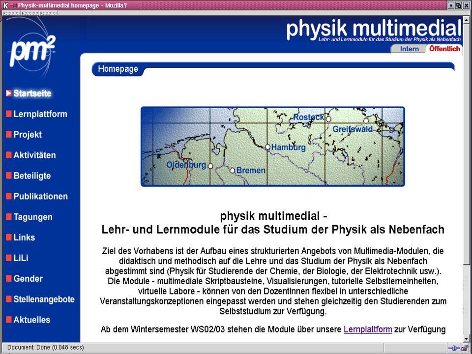 physik multimedial Lehr- und Lernmodule für das Studium der Physik als Nebenfach Plattform gh physik multimedial Julika Mimkes mimkes@uni-oldenburg.de