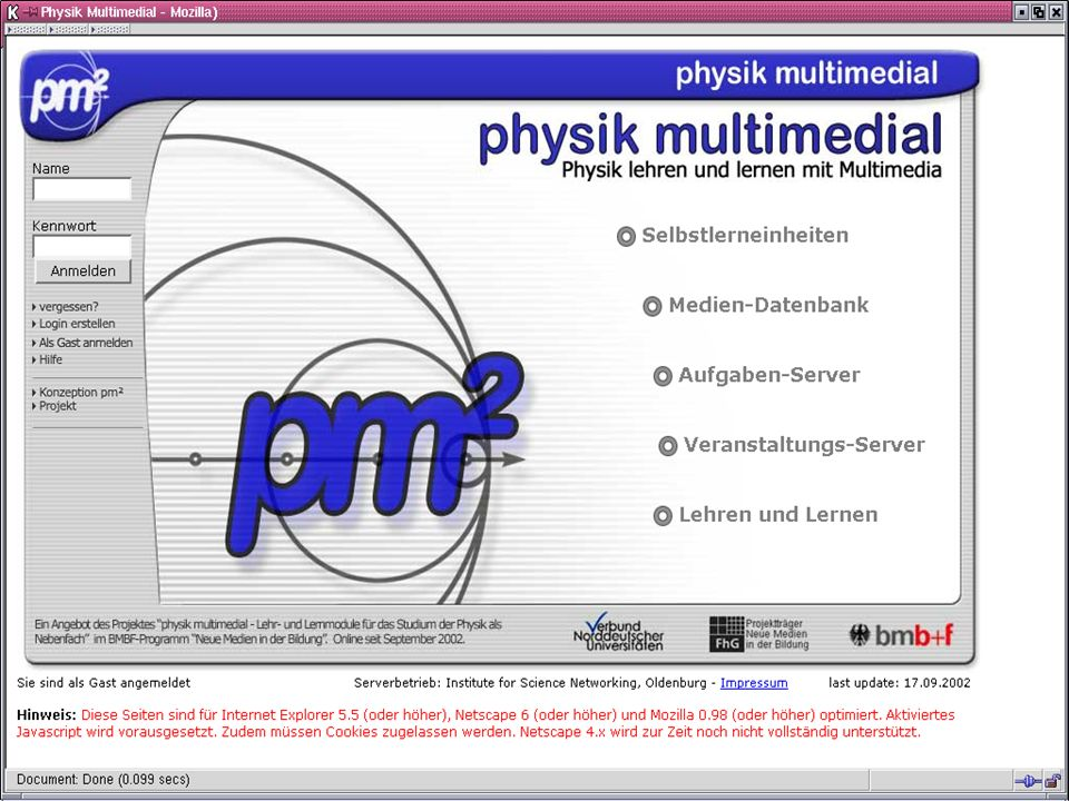 Plattform gh physik multimedial Julika Mimkes mimkes@uni-oldenburg.de Physikalisches Kolloquium, 4.11.2002 www.physik-multimedial.de