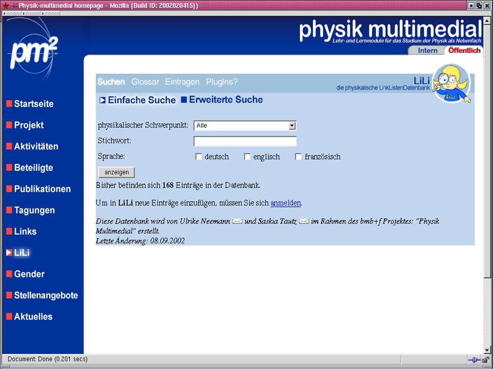 physik multimedial Lehr- und Lernmodule für das Studium der Physik als Nebenfach LiLi: Komplette Ausgabe des Links physik multimedial: LiLi und die Le