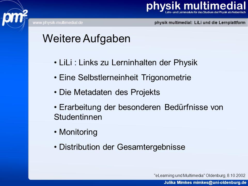 physik multimedial Lehr- und Lernmodule für das Studium der Physik als Nebenfach Weitere Aufgaben LiLi : Links zu Lerninhalten der Physik Eine Selbstl