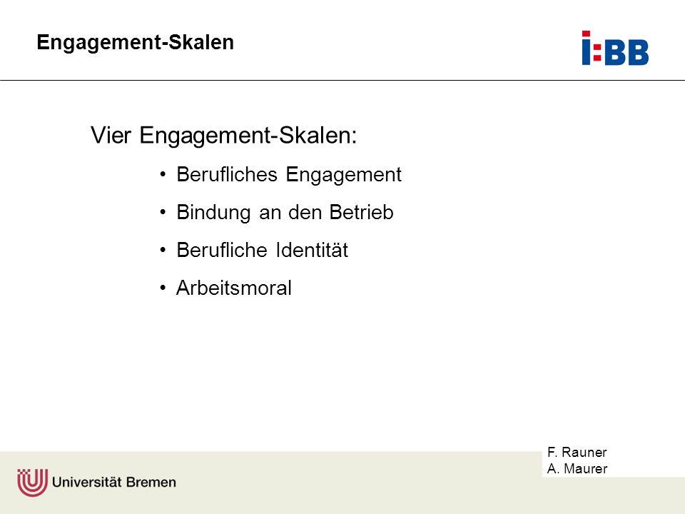 F. Rauner A. Maurer Vier Engagement-Skalen: Berufliches Engagement Bindung an den Betrieb Berufliche Identität Arbeitsmoral Engagement-Skalen
