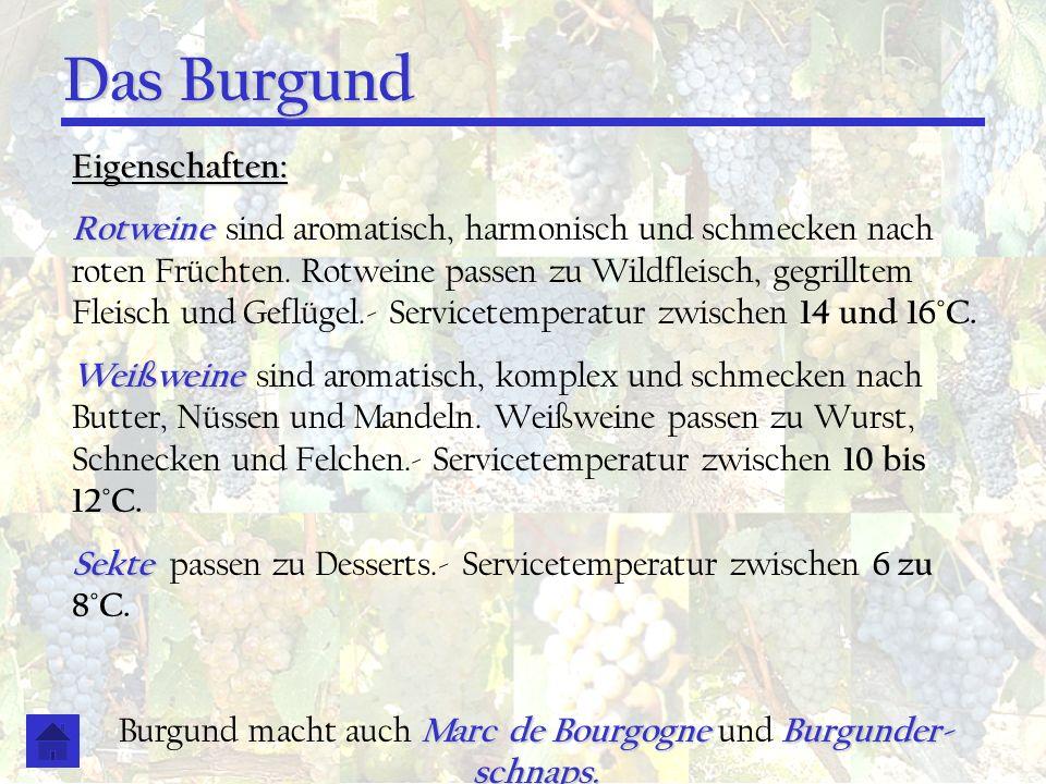 Das Burgund Eigenschaften: Rotweine Rotweine sind aromatisch, harmonisch und schmecken nach roten Früchten. Rotweine passen zu Wildfleisch, gegrilltem