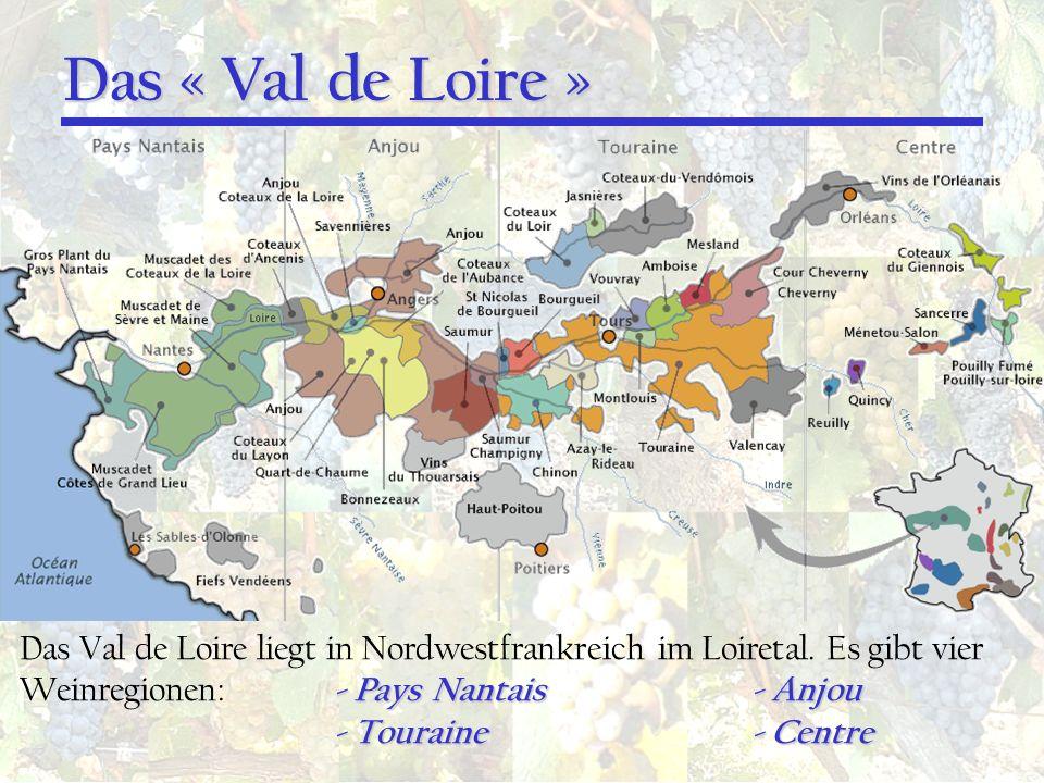 Das « Val de Loire » - Pays Nantais- Anjou Das Val de Loire liegt in Nordwestfrankreich im Loiretal. Es gibt vier Weinregionen: - Pays Nantais- Anjou