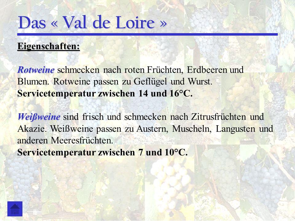 Das « Val de Loire » Eigenschaften: Rotweine Rotweine schmecken nach roten Früchten, Erdbeeren und Blumen. Rotweine passen zu Geflügel und Wurst. Serv