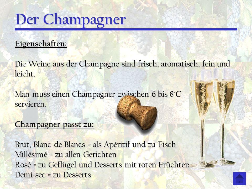 Der Champagner Eigenschaften: Die Weine aus der Champagne sind frisch, aromatisch, fein und leicht. Man muss einen Champagner zwischen 6 bis 8°C servi