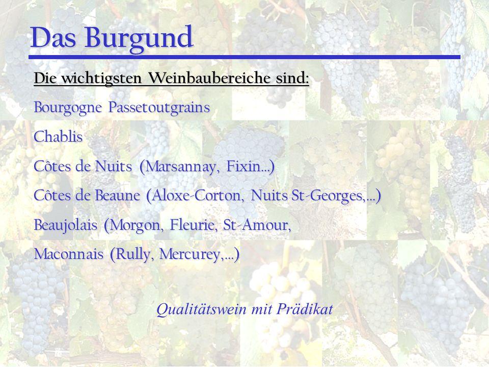 Die wichtigsten Weinbaubereiche sind: Bourgogne Passetoutgrains Chablis Côtes de Nuits (Marsannay, Fixin…) Côtes de Beaune (Aloxe-Corton, Nuits St-Geo