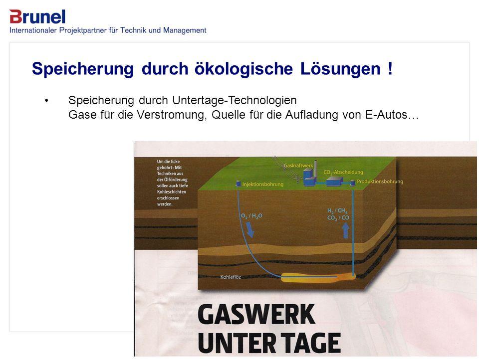 www.brunel.de 26. November 2013 10 Speicherung durch ökologische Lösungen ! Speicherung durch Untertage-Technologien Gase für die Verstromung, Quelle