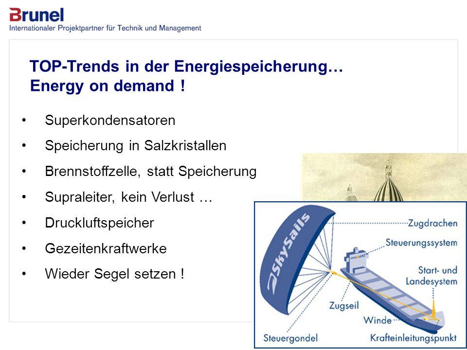 www.brunel.de 26. November 2013 12 TOP-Trends in der Energiespeicherung… Energy on demand ! Superkondensatoren Speicherung in Salzkristallen Brennstof