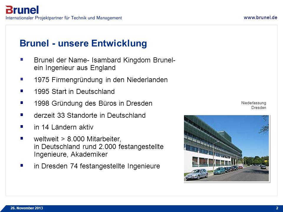 www.brunel.de 26. November 20132 Brunel - unsere Entwicklung Brunel der Name- Isambard Kingdom Brunel- ein Ingenieur aus England 1975 Firmengründung i