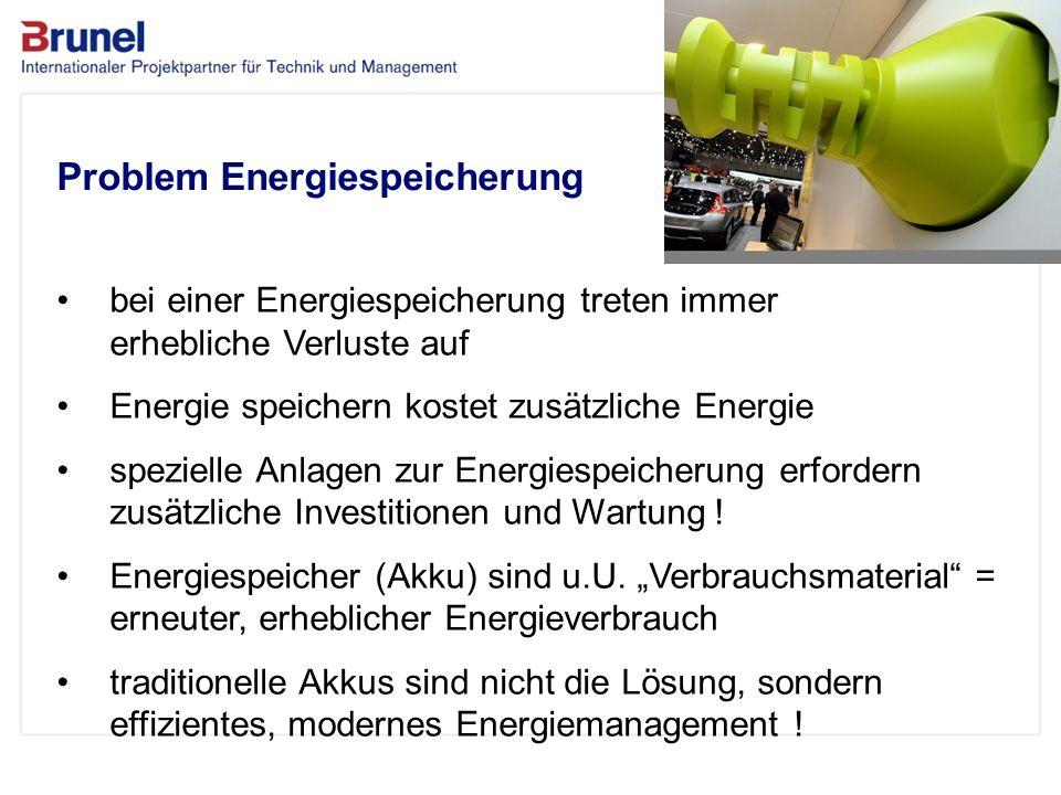 www.brunel.de 26. November 2013 5 Das Unternehmen Problem Energiespeicherung bei einer Energiespeicherung treten immer erhebliche Verluste auf Energie