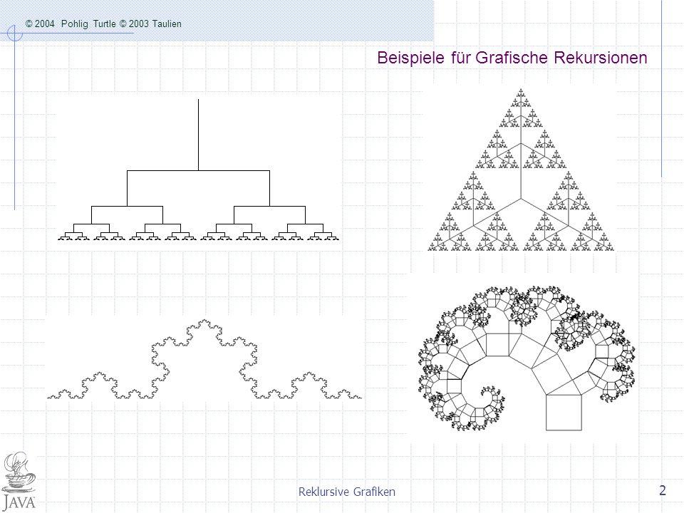 © 2004 Pohlig Turtle © 2003 Taulien Reklursive Grafiken 3 Kochkurve t1.forward(l); F t1.right(-60); + t1.forward(l); F t1.right(120); -- t1.forward(l); F t1.right(-60); + t1.forward(l); F F=vor; + drehe um im mathematisch pos.