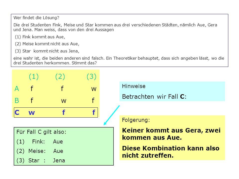 Wer findet die Lösung? Die drei Studenten Fink, Meise und Star kommen aus drei verschiedenen Städten, nämlich Aue, Gera und Jena. Man weiss, dass von