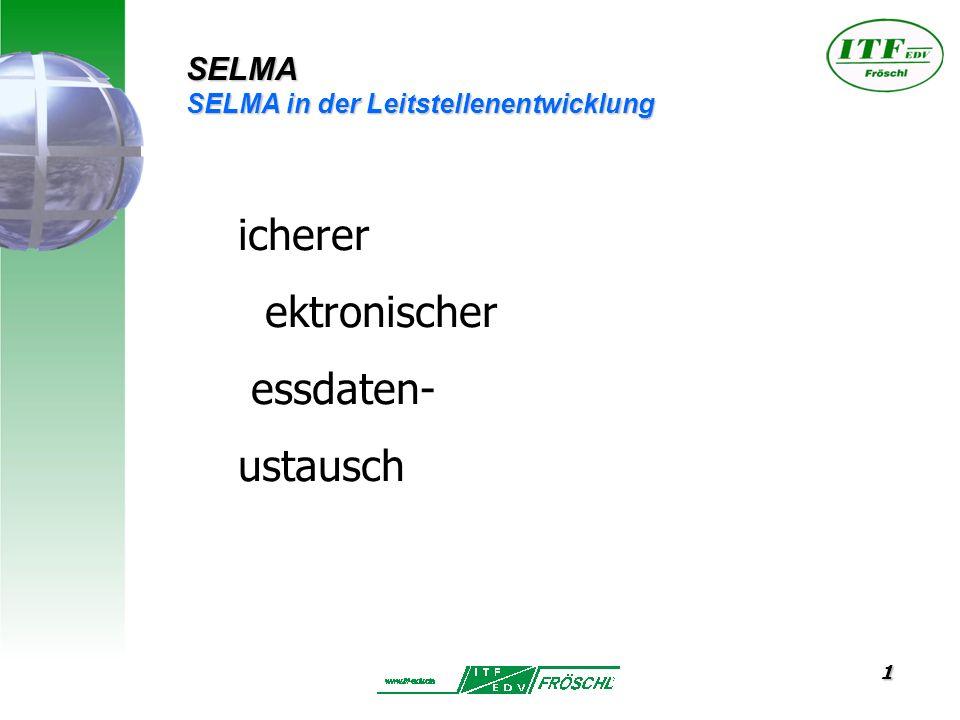 1 icherer ektronischer essdaten- ustausch SELMA SELMA in der Leitstellenentwicklung