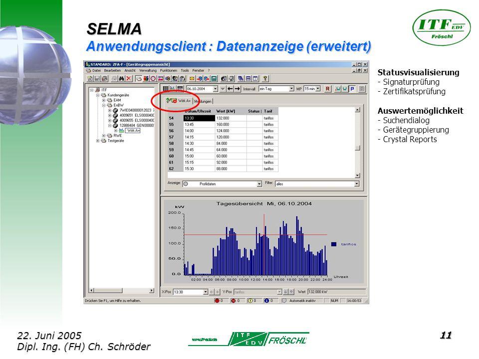 11 SELMA Anwendungsclient : Datenanzeige (erweitert) Statusvisualisierung - Signaturprüfung - Zertifikatsprüfung Auswertemöglichkeit - Suchendialog - Gerätegruppierung - Crystal Reports 22.