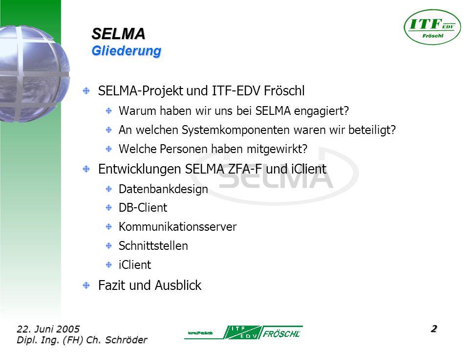 13 SELMA Anwendungsclient: XML-Export/Import Datenaustauschformat für: - signierte Lastgangdaten - signierte Zählerdaten - Zertifikate - enthält Base64-kodierte Binärdaten und beschreibende Infos 22.