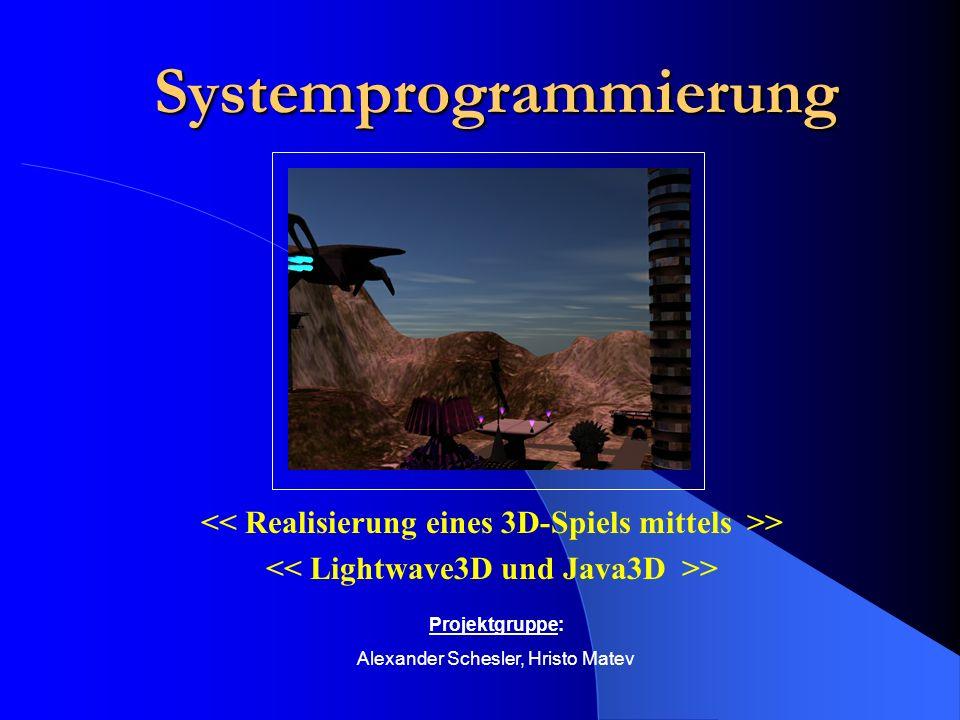 Spielbeschreibung Erstellung eines virtuellen 3D- Raums mit Hindernissen Roboter bewachen eine Waffe Spieler versucht diese zu finden und unschädlich zu machen Spiel ist beendet, wenn Waffe unschädlich ist, oder Spieler vom Wachroboter erfasst