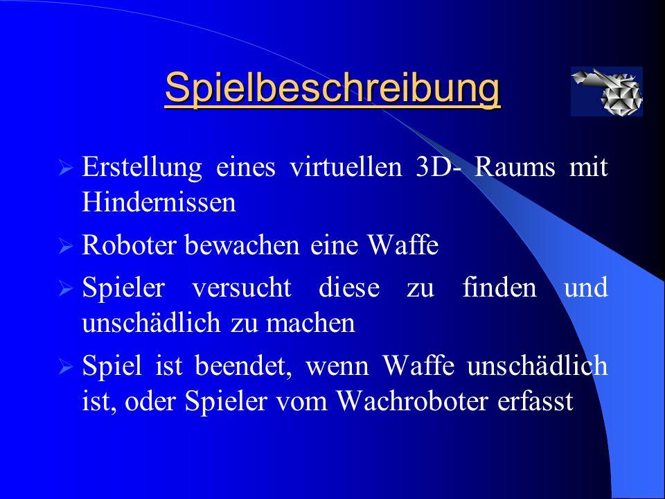 Aufgabenbereich Raummodellierung Texturierung des virtuellen 3D- Raums Wachrobotersteuerung ( Computerseite ) Sounds im Spiel Spielschwierigkeitsgrade Netzwerkspiel / Multiplayer, Client -Teil Optimierung der Szene Schluss-Video mit LW