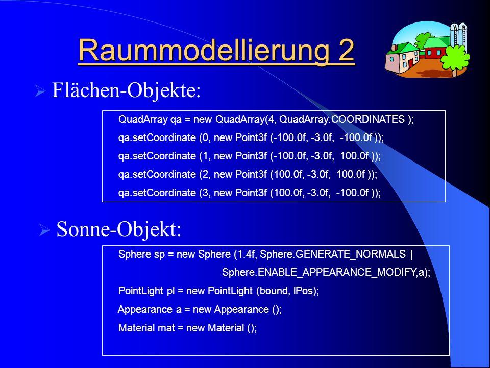 Texturierung des 3D- Raums QuadArray qa = new QuadArray(4, QuadArray.TEXTURE_COORDINATE_2); qa.setTextureCoordinate (0,new Point2f (0.0f, 1.0f)); qa.setTextureCoordinate (1,new Point2f (0.0f, 0.0f)); qa.setTextureCoordinate (2,new Point2f (1.0f, 0.0f)); qa.setTextureCoordinate (3,new Point2f (1.0f, 1.0f)); 2D Texturen für alle Flächen-Objekte: