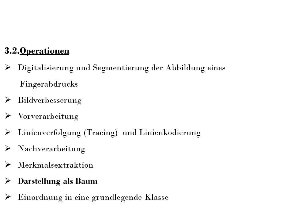3.2.Operationen Digitalisierung und Segmentierung der Abbildung eines Fingerabdrucks Bildverbesserung Vorverarbeitung Linienverfolgung (Tracing) und L