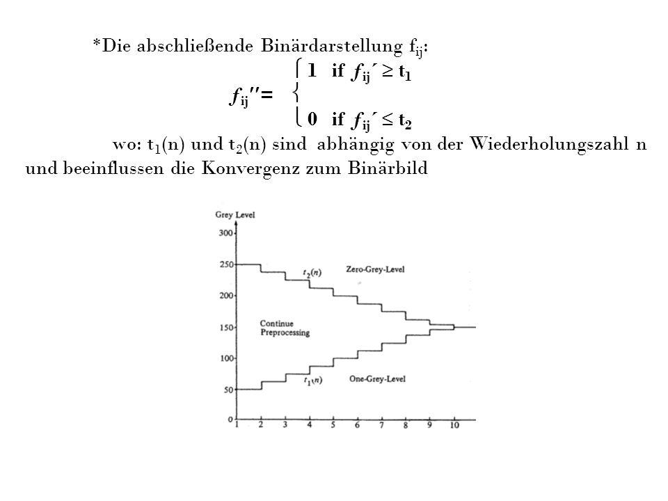 *Die abschließende Binärdarstellung f ij : 1 if ƒ ij ´ t 1 ƒ ij = 0 if ƒ ij ´ t 2 wo: t 1 (n) und t 2 (n) sind abhängig von der Wiederholungszahl n un