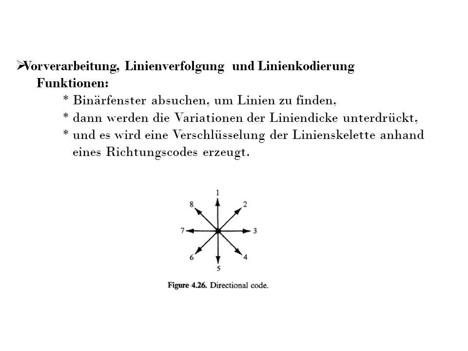 Vorverarbeitung, Linienverfolgung und Linienkodierung Funktionen: * Binärfenster absuchen, um Linien zu finden, * dann werden die Variationen der Lini