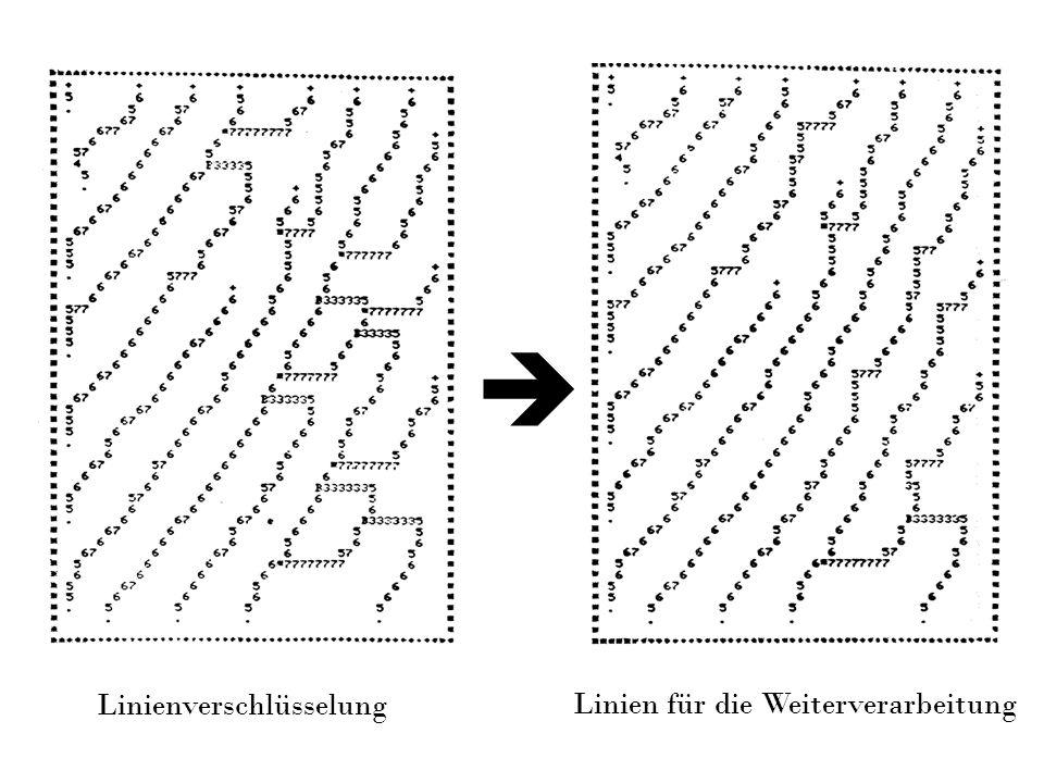 Linienverschlüsselung Linien für die Weiterverarbeitung