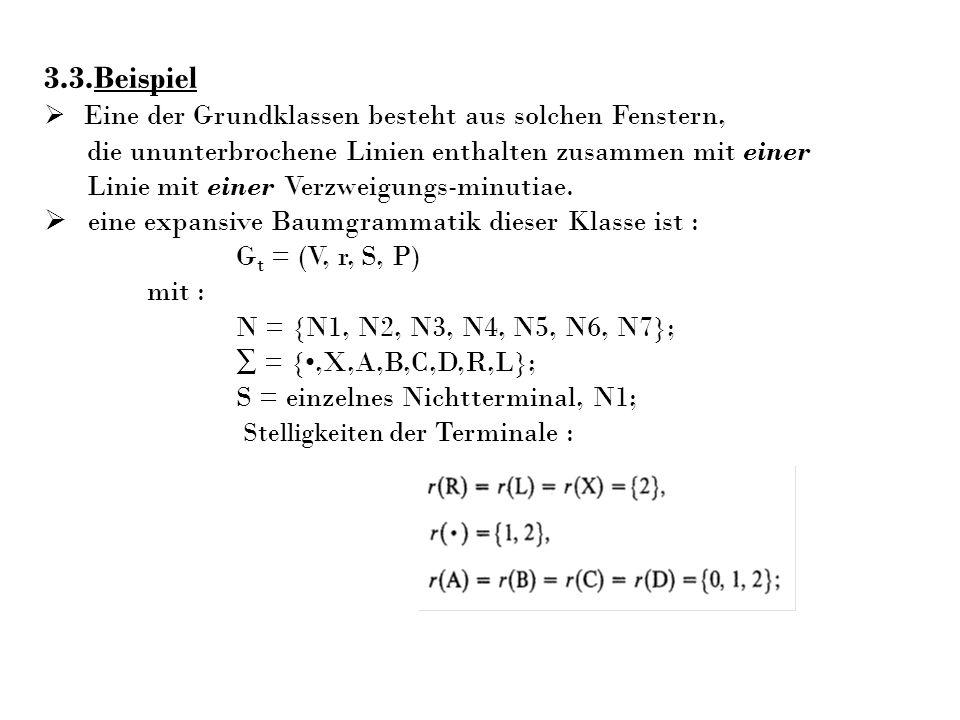 3.3.Beispiel Eine der Grundklassen besteht aus solchen Fenstern, die ununterbrochene Linien enthalten zusammen mit einer Linie mit einer Verzweigungs-