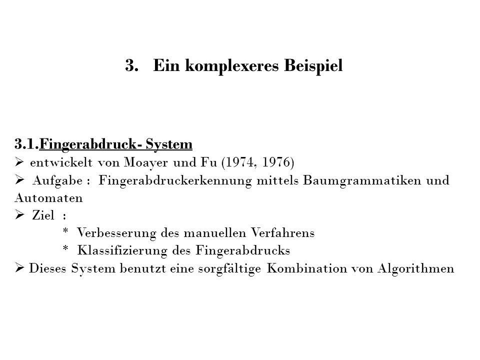 3.1.Fingerabdruck- System entwickelt von Moayer und Fu (1974, 1976) Aufgabe : Fingerabdruckerkennung mittels Baumgrammatiken und Automaten Ziel : * Ve