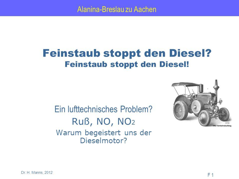 Alanina-Breslau zu Aachen F 1 Dr. H. Manns, 2012 Feinstaub stoppt den Diesel.