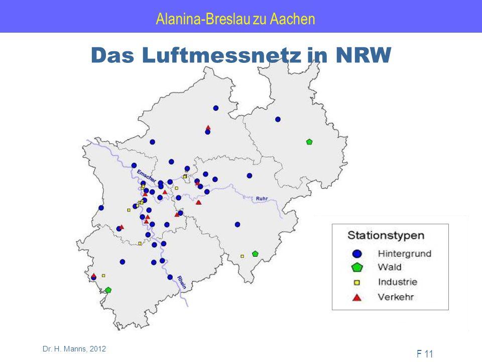Alanina-Breslau zu Aachen F 11 Dr. H. Manns, 2012 Das Luftmessnetz in NRW