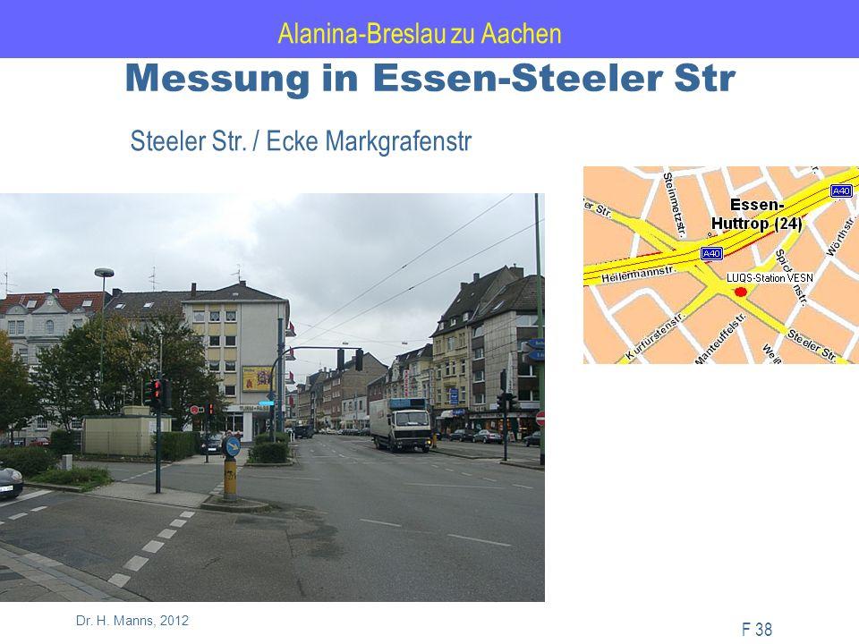 Alanina-Breslau zu Aachen F 38 Dr. H. Manns, 2012 Messung in Essen-Steeler Str Steeler Str.