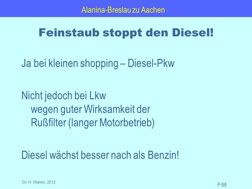 Alanina-Breslau zu Aachen F 66 Dr. H. Manns, 2012 Feinstaub stoppt den Diesel.