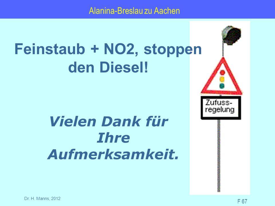 Alanina-Breslau zu Aachen F 67 Dr. H. Manns, 2012 Vielen Dank für Ihre Aufmerksamkeit.