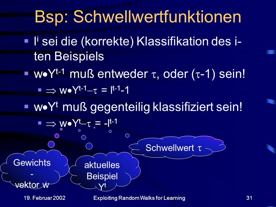 19. Februar 2002Exploiting Random Walks for Learning31 Bsp: Schwellwertfunktionen l i sei die (korrekte) Klassifikation des i- ten Beispiels w Y t-1 m