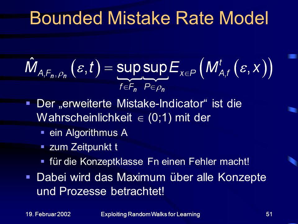19. Februar 2002Exploiting Random Walks for Learning51 Bounded Mistake Rate Model Der erweiterte Mistake-Indicator ist die Wahrscheinlichkeit (0;1) mi