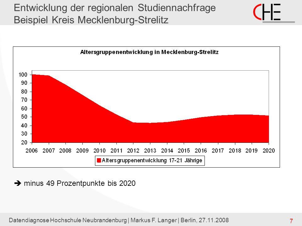 Datendiagnose Hochschule Neubrandenburg | Markus F. Langer | Berlin, 27.11.2008 7 Entwicklung der regionalen Studiennachfrage Beispiel Kreis Mecklenbu
