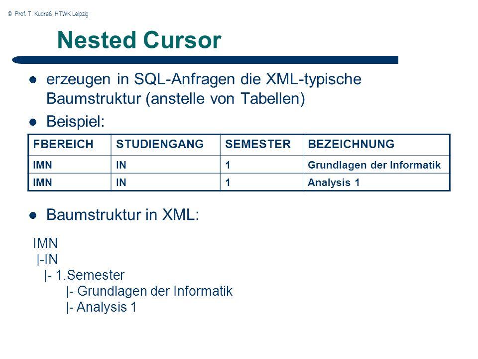 © Prof. T. Kudraß, HTWK Leipzig Nested Cursor erzeugen in SQL-Anfragen die XML-typische Baumstruktur (anstelle von Tabellen) Beispiel: FBEREICHSTUDIEN