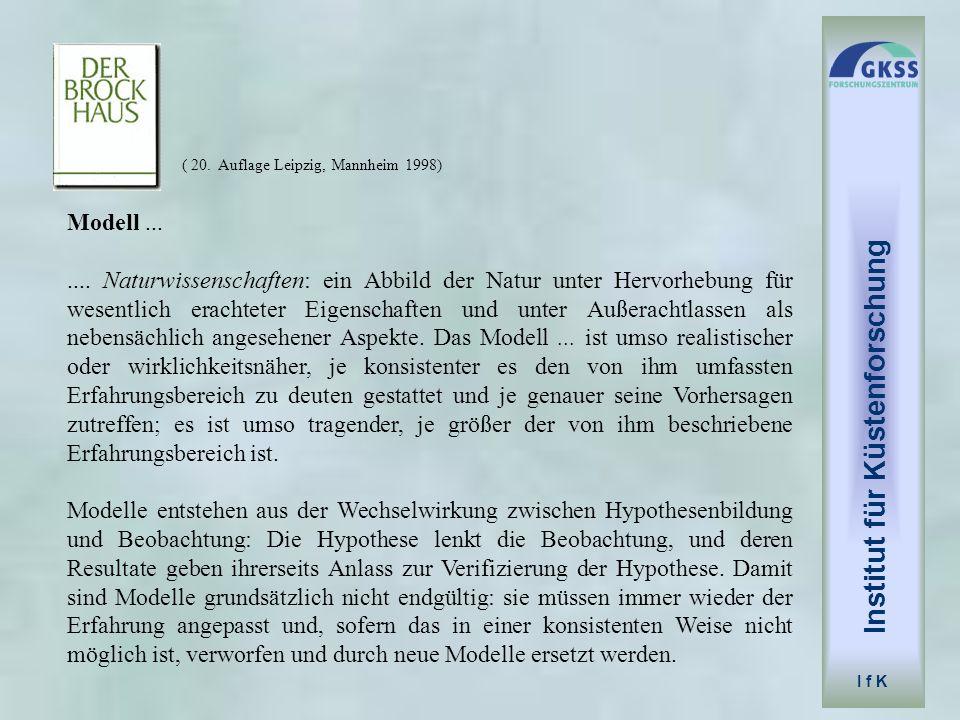 ( 20. Auflage Leipzig, Mannheim 1998) Modell....... Naturwissenschaften: ein Abbild der Natur unter Hervorhebung für wesentlich erachteter Eigenschaft