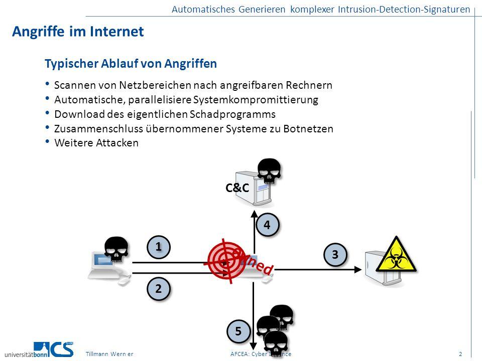 Tillmann Wern erAFCEA: Cyber Defence Automatisches Generieren komplexer Intrusion-Detection-Signaturen Angriffe im Internet 2 Typischer Ablauf von Ang
