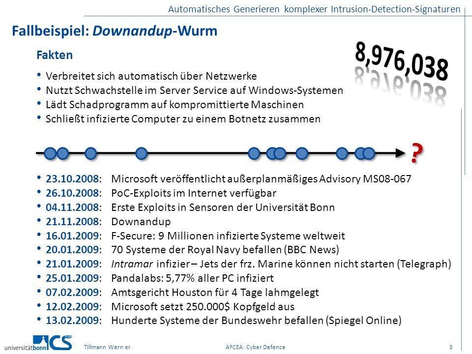 Automatisches Generieren komplexer Intrusion-Detection-Signaturen Fallbeispiel: Downandup-Wurm 3Tillmann Wern erAFCEA: Cyber Defence Fakten Verbreitet