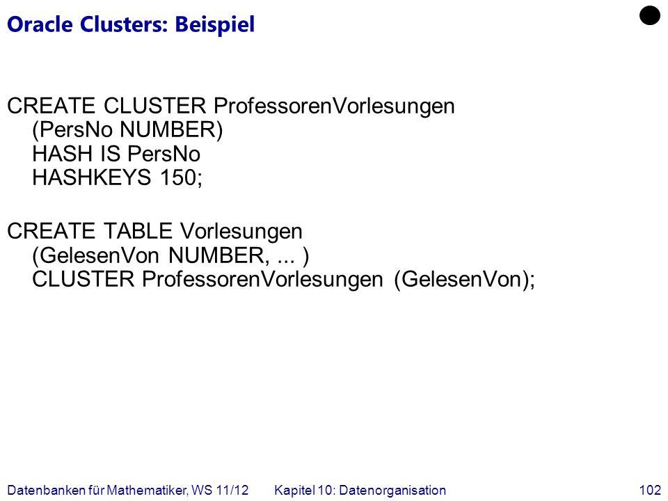 Datenbanken für Mathematiker, WS 11/12Kapitel 10: Datenorganisation102 Oracle Clusters: Beispiel CREATE CLUSTER ProfessorenVorlesungen (PersNo NUMBER) HASH IS PersNo HASHKEYS 150; CREATE TABLE Vorlesungen (GelesenVon NUMBER,...