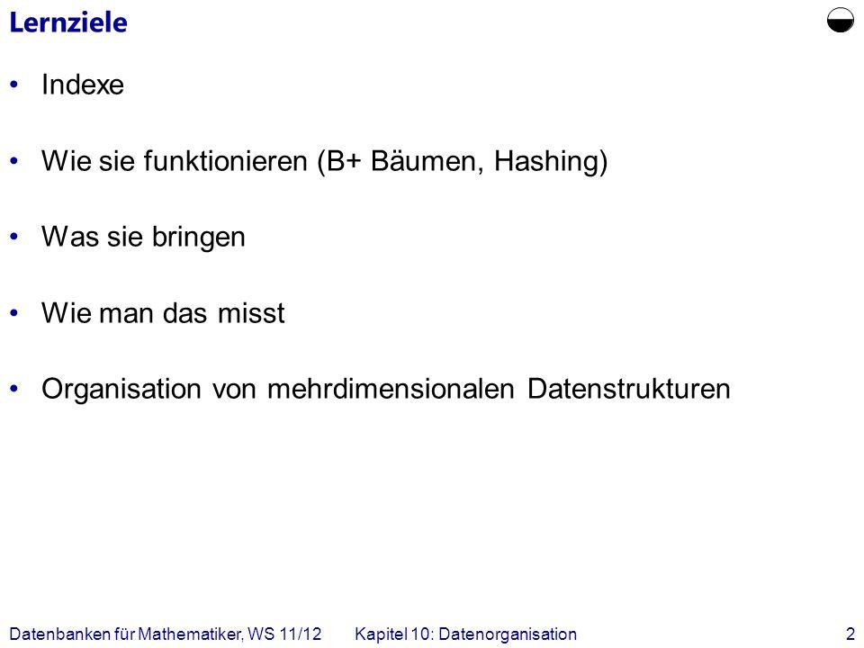 Datenbanken für Mathematiker, WS 11/12Kapitel 10: Datenorganisation2 Lernziele Indexe Wie sie funktionieren (B+ Bäumen, Hashing) Was sie bringen Wie man das misst Organisation von mehrdimensionalen Datenstrukturen