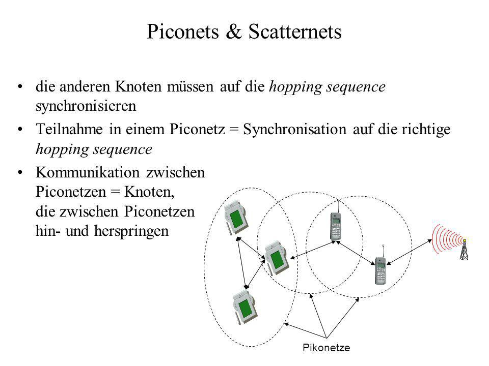 Piconets & Scatternets die anderen Knoten müssen auf die hopping sequence synchronisieren Teilnahme in einem Piconetz = Synchronisation auf die richti