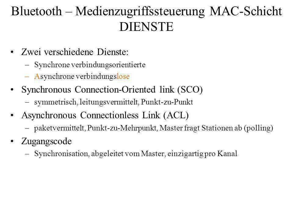 Bluetooth – Medienzugriffssteuerung MAC-Schicht DIENSTE Zwei verschiedene Dienste: –Synchrone verbindungsorientierte –Asynchrone verbindungslose Synch