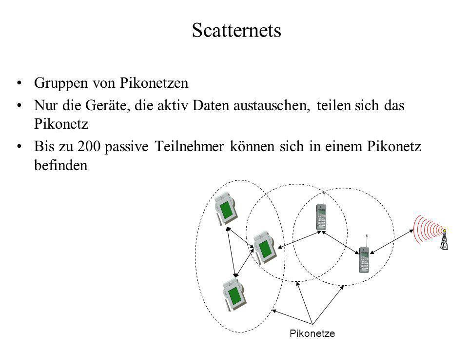 Scatternets Gruppen von Pikonetzen Nur die Geräte, die aktiv Daten austauschen, teilen sich das Pikonetz Bis zu 200 passive Teilnehmer können sich in