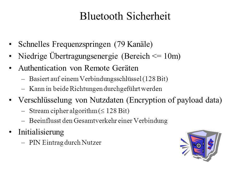 Bluetooth Sicherheit Schnelles Frequenzspringen (79 Kanäle) Niedrige Übertragungsenergie (Bereich <= 10m) Authentication von Remote Geräten –Basiert a