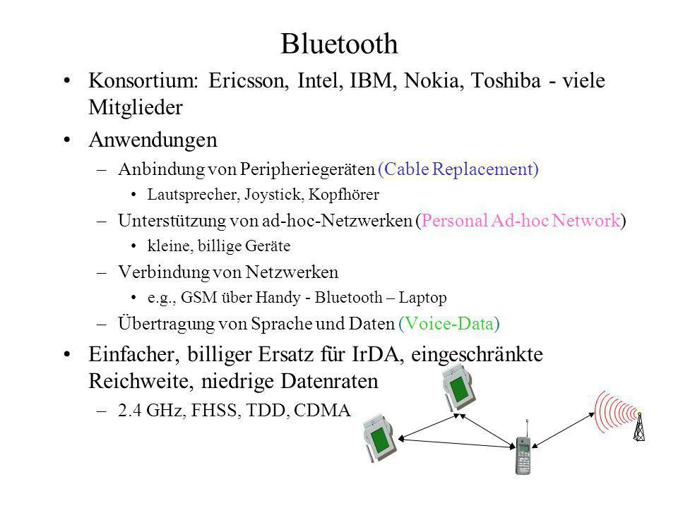 Zustände eines Bluetooth - Gerätes Standby Alle Geräte, die sich in einem Pikonetz befinden, sind im Standby- Mode Gerät wartet alle 2.048 Zeitschlitze auf Rundnachrichten Hört mit auf einer Untermenge von Trägerfrequenzen = Wakeup- Carriers Eine Verbindung kann von jedem Gerät initiiert werden Wird dann automatisch Master Das geschieht mit page-Nachricht, wenn Gerät Empfänger- Adresse kennt Wenn Empfänger nicht bekannt: inquiry-Nachricht gefolgt von page-Nachricht
