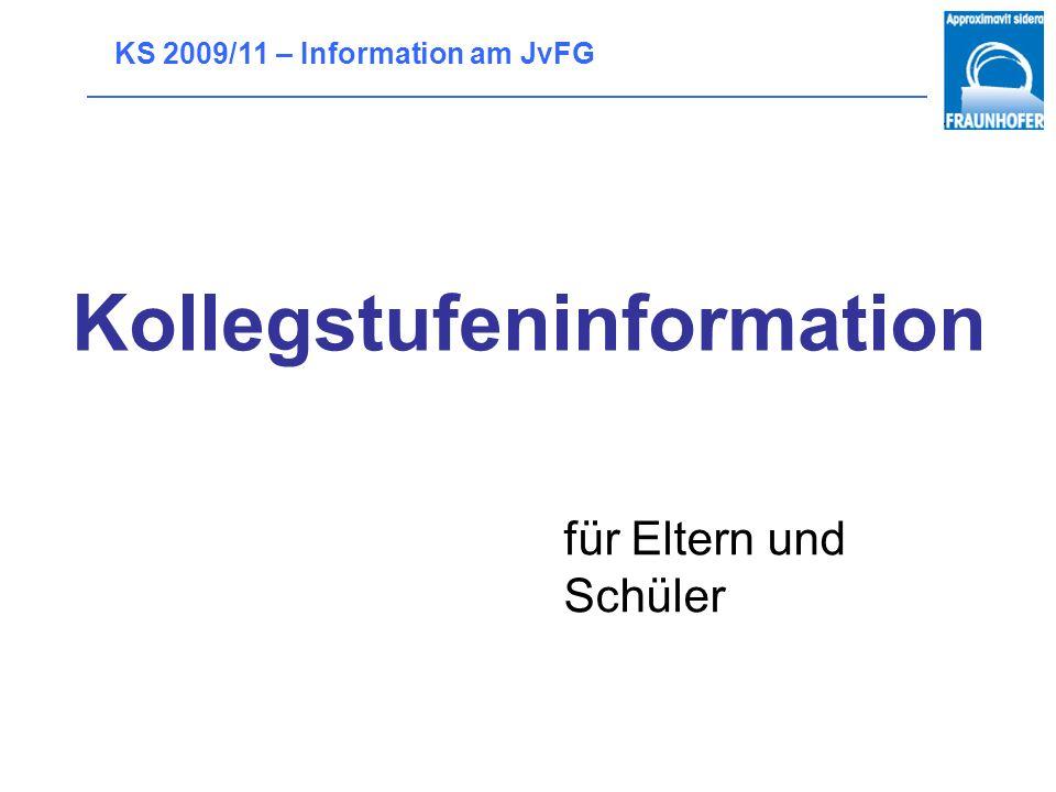 KS 2009/11 – Information am JvFG Kollegstufeninformation für Eltern und Schüler