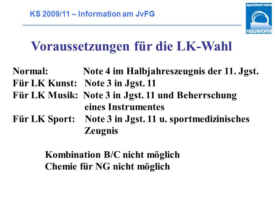 KS 2009/11 – Information am JvFG Wahlpflichtangebot sprachlich literarisch künstlerisch (SLK) gesellschafts- wissenschaftlich politisch religiös (GPR)